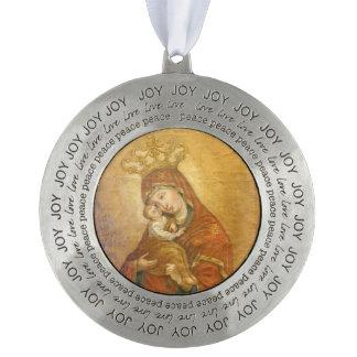 Heilige Moeder van Pochayiv de Oekraïne Rond Pewter Ornament