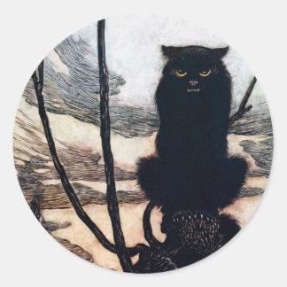 Heks in de Vorm van de Kat Ronde Sticker