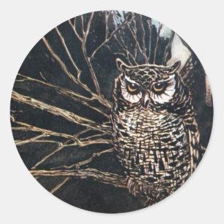 Heks in de Vorm van de Uil Ronde Sticker