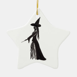 Heks met een Toverstokje Keramisch Ster Ornament