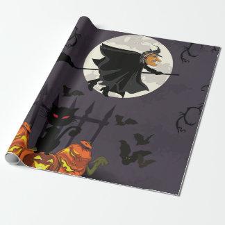 Heks op bezemsteel, zwarte kat, pompoenen inpakpapier