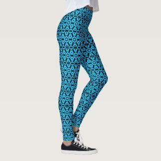 Helder Blauw Geometrisch Patroon Aqua Leggings