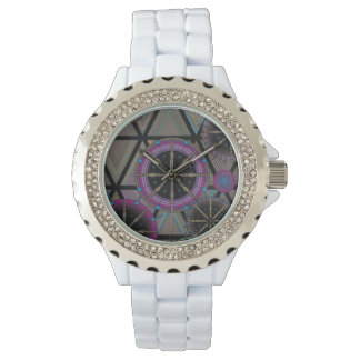 Helder patroon van cirkels en driehoeken horloges