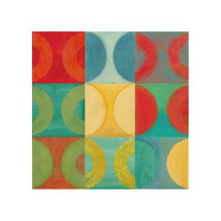 Helder Pop-art met Cirkels en Vierkanten Hout Afdruk