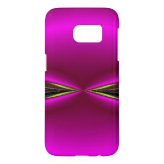 Helder Roze met de Groene Samenvatting van de Rand Samsung Galaxy S7 Hoesje
