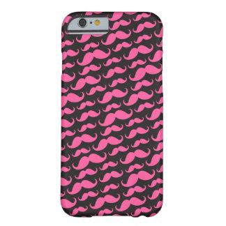 Helder roze zwart trendy grappig snorpatroon barely there iPhone 6 hoesje