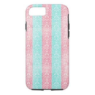 Helder Turkoois Roze Blauw Damast Kawaii iPhone 7 Hoesje