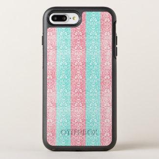 Helder Turkoois Roze Blauw Damast Kawaii OtterBox Symmetry iPhone 7 Plus Hoesje