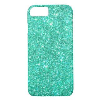 Heldere Aqua Blauwe Faux schittert Leuke Girly iPhone 7 Hoesje