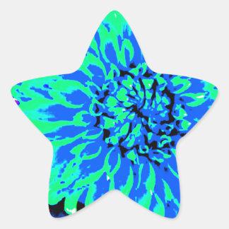 heldere blauwe en groene dahlia's in ster sticker