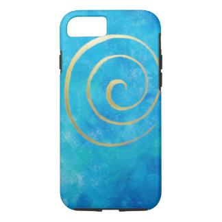 Heldere Blauwe Oneindigheid Gouden Spiraalvormige iPhone 7 Hoesje