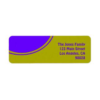 Heldere gele paarse mod.cirkel etiket