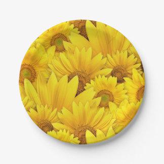 Heldere Gele Zonnebloem Daisy Floral Pattern Papieren Bordje