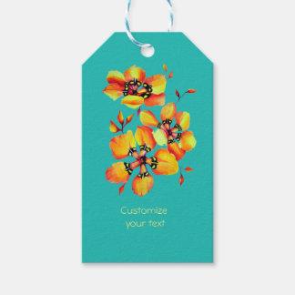 Heldere Oranje Bloemen - Aqua Cadeaulabel