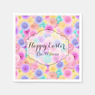 Heldere Pastelkleur Bloemen Gelukkige Pasen en Papieren Servet