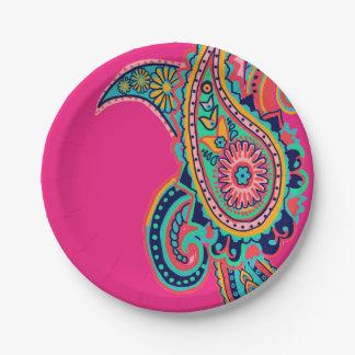 Heldere Regenboog Roze Paisley Papieren Bordje