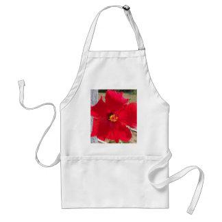 heldere rode tropische hibiscusbloem standaard schort
