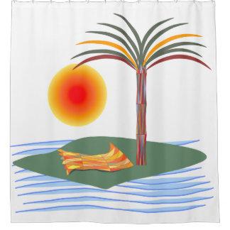Heldere Tropische Palm, Zon en Golven Douchegordijn