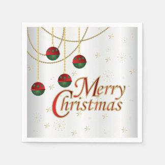 Heldere Witte Vrolijke Kerstmis Papieren Servetten
