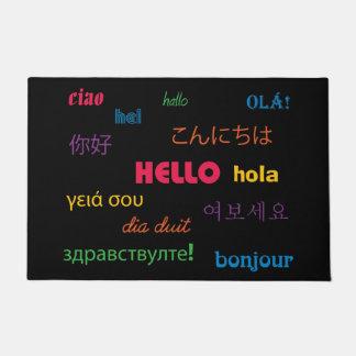 Hello in velen het Kleurrijke Roze Blauw van Talen Deurmat