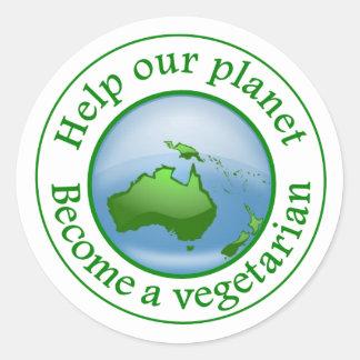 Help onze planeet., word een vegetariër ronde sticker
