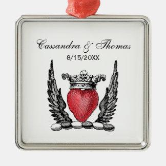 Heraldisch Hart met CREST van het Wapenschild van Zilverkleurig Vierkant Ornament