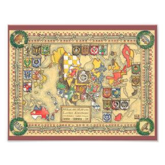 Heraldische Kaart van de Bekende Wereld Fotografische Afdruk