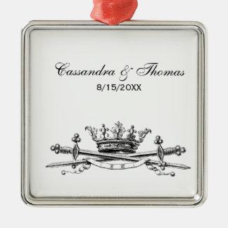 Heraldische Kroon Gekruist CREST van het Embleem Zilverkleurig Vierkant Ornament