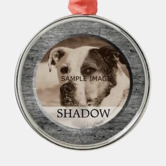 HerdenkingsFoto | van het huisdier in Geheugen van Zilverkleurig Rond Ornament