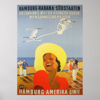 Herdruk van een Vintage Duits Schip aan het Poster