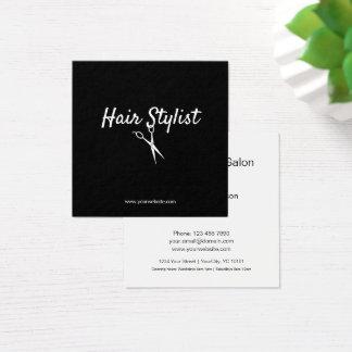 Herenkapper - Zwart-witte Omgekeerde Schaar Vierkante Visitekaartjes