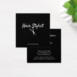 Herenkapper - Zwart-witte Schaar Vierkante Visitekaartjes