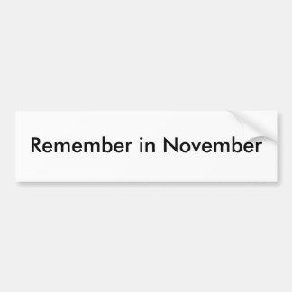 Herinner me in November Bumpersticker