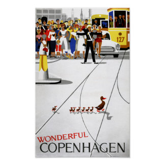 Herstelde Poster van de Reis van Kopenhagen het