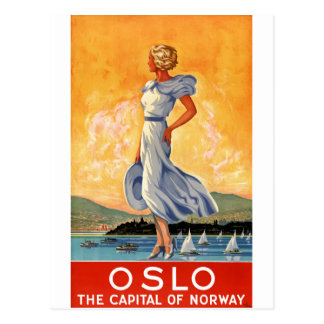 Herstelde Poster van de Reis van Oslo Noorwegen Briefkaart