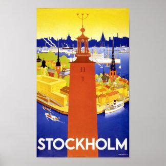 Herstelde Poster van de Reis van Stockholm het