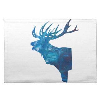 herten hoofdmannetje in blauw placemat