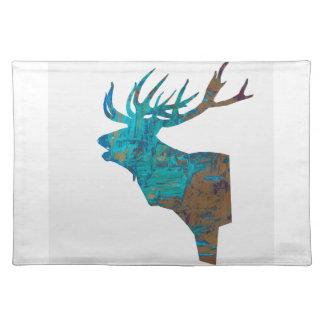 herten hoofdmannetje in turquois placemat