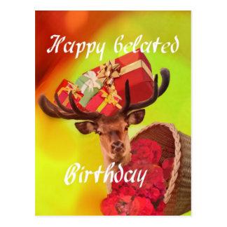 Herten met giften in late verjaardag briefkaart