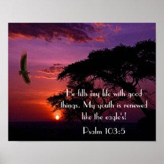het 103:5zonsondergang en adelaar van de Psalm van Poster