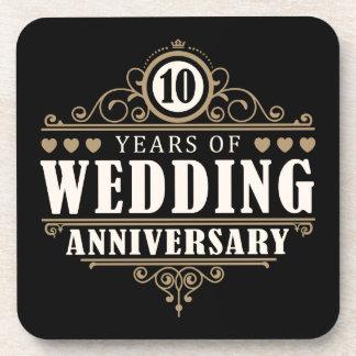 het 10de Jubileum van het Huwelijk Drankjes Onderzetters