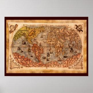 het 15de Een eeuw oude Art. van de Kaart van de Poster
