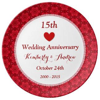 het 15de Jubileum van het Huwelijk Robijnrode Rode Porseleinen Bord