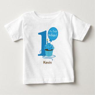 het 1st Blauw van Cupcake van de Verjaardag Baby T Shirts