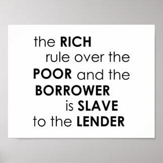 Het 22:7 van gezegden de rijke regel over Bijbel Poster