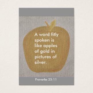 Het 25:11 van gezegden, fitly gesproken woord van visitekaartjes