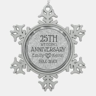 het 25ste Grijze Zilver van het Jubileum van het Tin Sneeuwvlok Ornament