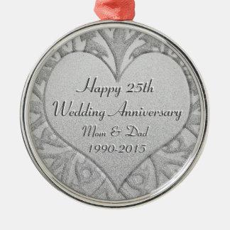 het 25ste Hart van het Jubileum van de Zilveren Zilverkleurig Rond Ornament