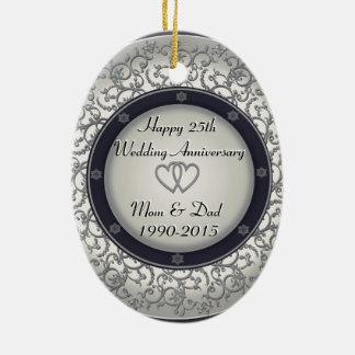 het 25ste Jubileum van de Zilveren bruiloft Keramisch Ovaal Ornament