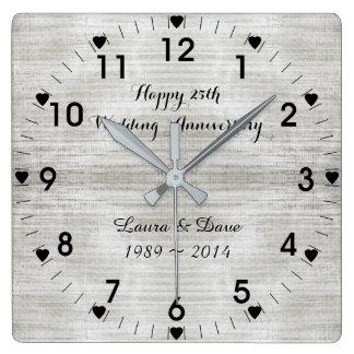 het 25ste Jubileum van de Zilveren bruiloft Vierkante Klok